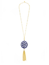Modern Damask Pendant Tassel Necklace